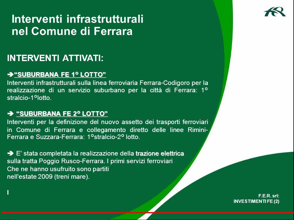 SUBURBANA FE 1° LOTTO PRINCIPALI OPERE PREVISTE: Nuove fermate suburbane: TERMINAL SUBURBANA c/o Stazione Ferrara C.le;UNIVERSITA, BOSCHETTO,S.