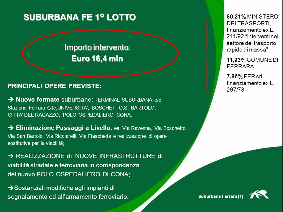 SUBURBANA FE 1° LOTTO PRINCIPALI OPERE PREVISTE: Nuove fermate suburbane: TERMINAL SUBURBANA c/o Stazione Ferrara C.le;UNIVERSITA, BOSCHETTO,S. BARTOL