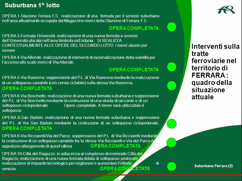 Interventi sulla tratte ferroviarie nel territorio di FERRARA : quadro della situazione attuale OPERA 1-Stazione Ferrara F.S.: realizzazione di una fe