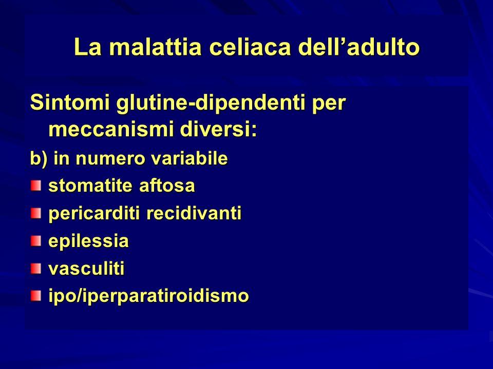 La malattia celiaca delladulto Sintomi glutine-dipendenti per meccanismi diversi: b) in numero variabile stomatite aftosa pericarditi recidivanti epil
