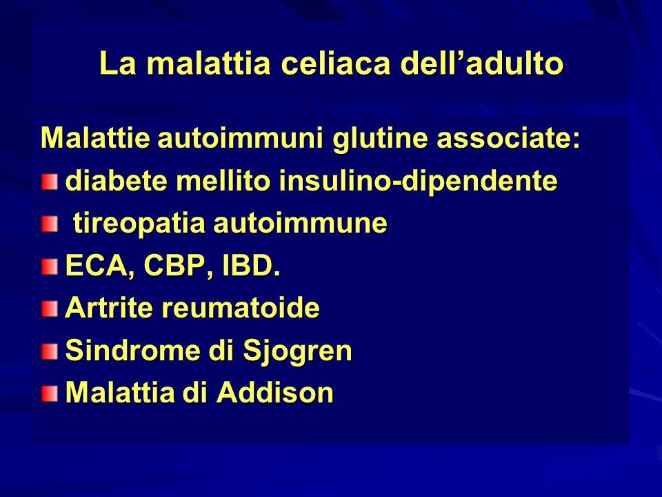 La malattia celiaca delladulto Malattie autoimmuni glutine associate: diabete mellito insulino-dipendente tireopatia autoimmune tireopatia autoimmune