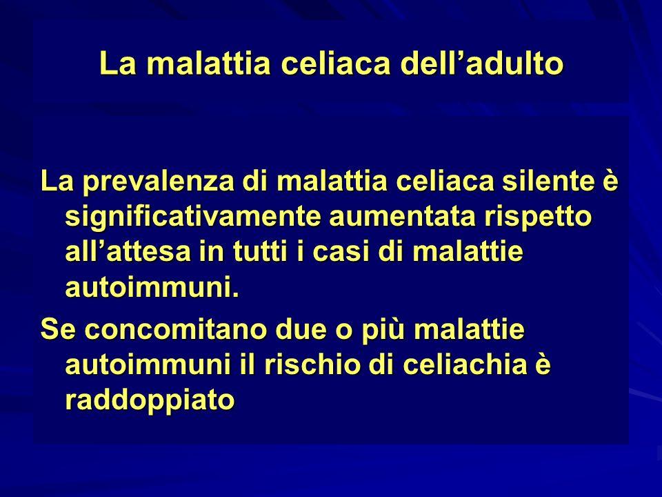 La malattia celiaca delladulto La prevalenza di malattia celiaca silente è significativamente aumentata rispetto allattesa in tutti i casi di malattie