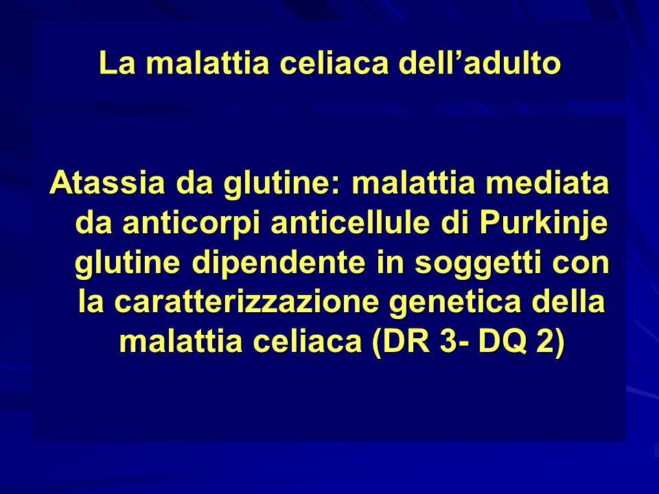 La malattia celiaca delladulto Atassia da glutine: malattia mediata da anticorpi anticellule di Purkinje glutine dipendente in soggetti con la caratte