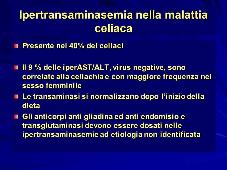 Ipertransaminasemia nella malattia celiaca Presente nel 40% dei celiaci Il 9 % delle iperAST/ALT, virus negative, sono correlate alla celiachia e con
