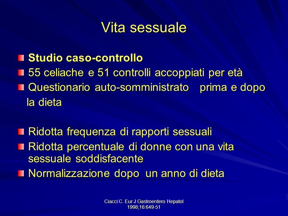 Ciacci C. Eur J Gastroentero Hepatol 1998;16:649-51 Vita sessuale Studio caso-controllo 55 celiache e 51 controlli accoppiati per età Questionario aut