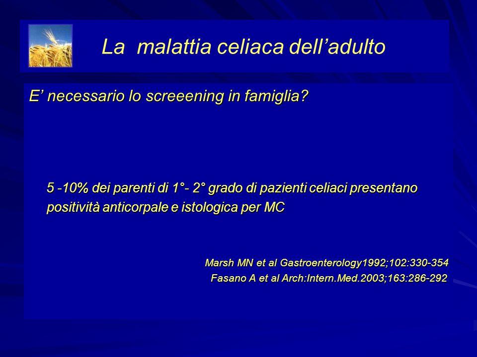 E necessario lo screeening in famiglia? 5 -10% dei parenti di 1°- 2° grado di pazienti celiaci presentano positività anticorpale e istologica per MC 5