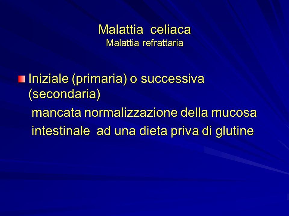 Malattia celiaca Malattia refrattaria Iniziale (primaria) o successiva (secondaria) mancata normalizzazione della mucosa mancata normalizzazione della