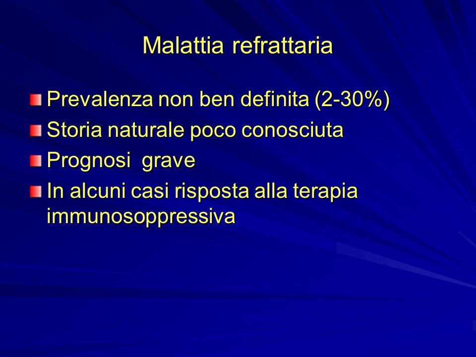 Malattia refrattaria Prevalenza non ben definita (2-30%) Storia naturale poco conosciuta Prognosi grave In alcuni casi risposta alla terapia immunosop
