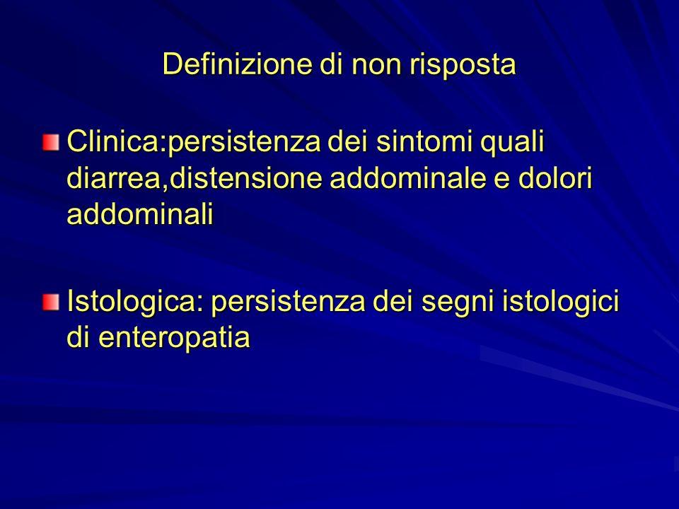 Definizione di non risposta Clinica:persistenza dei sintomi quali diarrea,distensione addominale e dolori addominali Istologica: persistenza dei segni