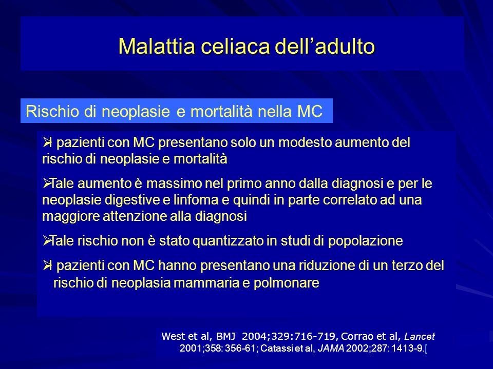 Rischio di neoplasie e mortalità nella MC I pazienti con MC presentano solo un modesto aumento del rischio di neoplasie e mortalità Tale aumento è mas