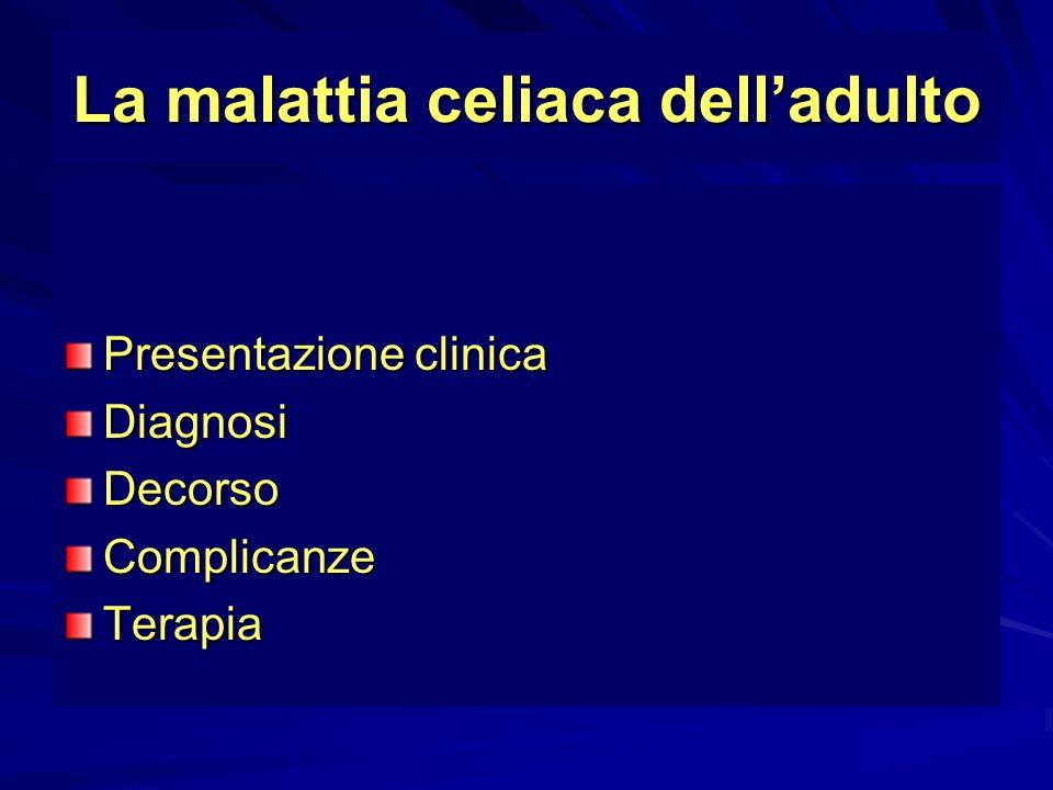 Definizione di non risposta Clinica:persistenza dei sintomi quali diarrea,distensione addominale e dolori addominali Istologica: persistenza dei segni istologici di enteropatia