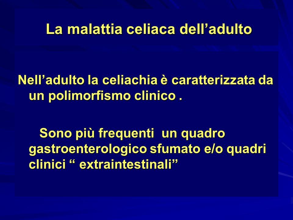 La malattia celiaca delladulto Casistica Casistica 1980-1995 1980-2001 1980-2011 1980-1995 1980-2001 1980-2011 –n paz.153 310 650 –donne105 239 511 –uomini 54 71 149 –diarrea 110 (76%)216 (70%) 416(64%) –anemia sider.