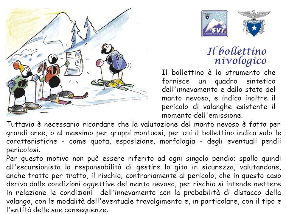 Il bollettino nivologico Il bollettino è lo strumento che fornisce un quadro sintetico dell innevamento e dallo stato del manto nevoso, e indica inoltre il pericolo di valanghe esistente il momento dell emissione.