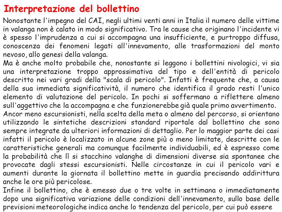 Interpretazione del bollettino Nonostante l'impegno del CAI, negli ultimi venti anni in Italia il numero delle vittime in valanga non è calato in modo