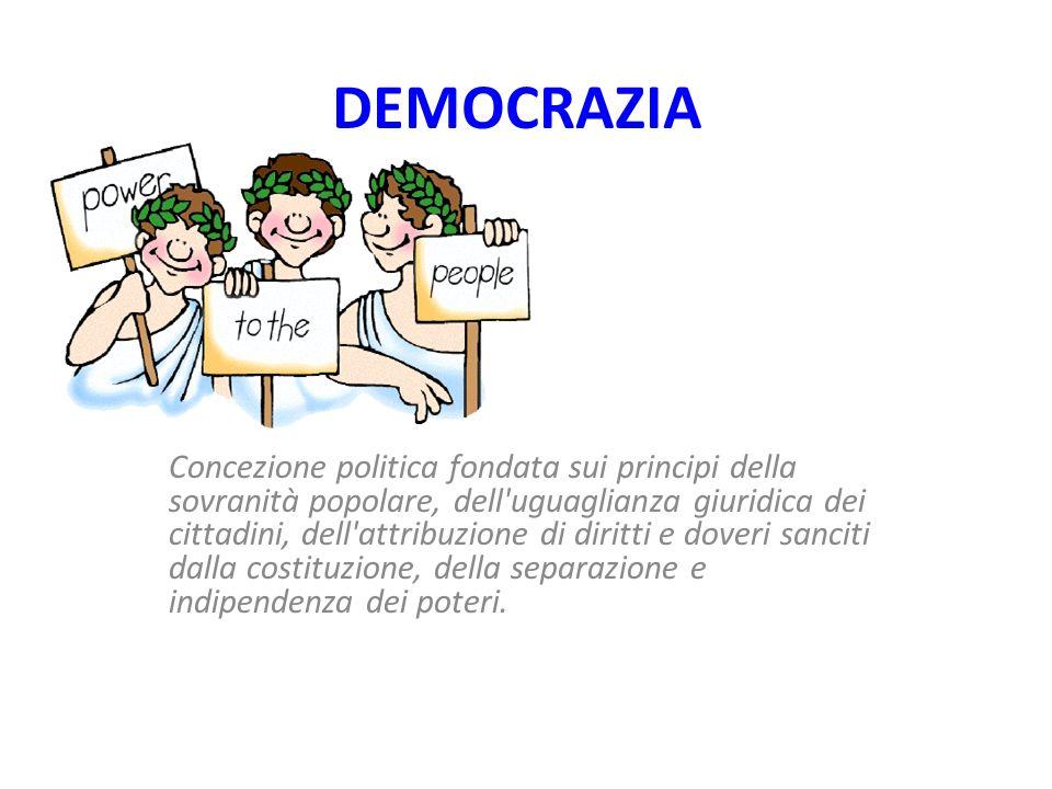 DEMOCRAZIA Concezione politica fondata sui principi della sovranità popolare, dell uguaglianza giuridica dei cittadini, dell attribuzione di diritti e doveri sanciti dalla costituzione, della separazione e indipendenza dei poteri.