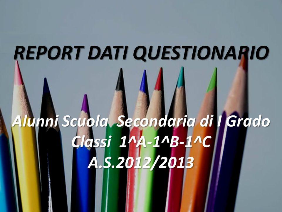 REPORT DATI QUESTIONARIO Alunni Scuola Secondaria di I Grado Classi 1^A-1^B-1^C A.S.2012/2013