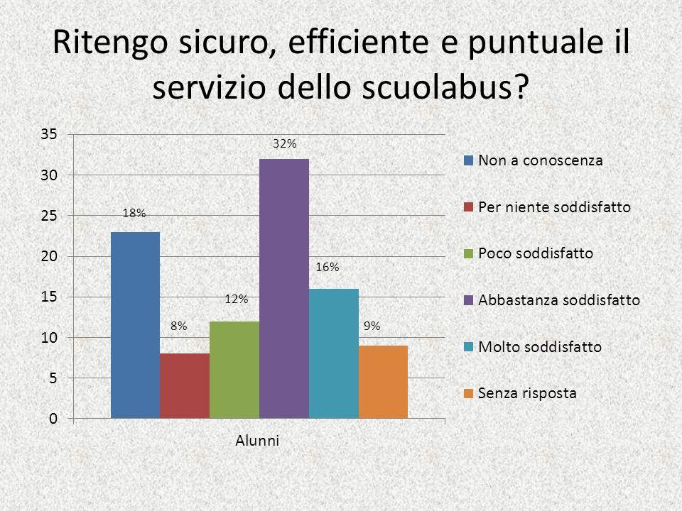 Ritengo sicuro, efficiente e puntuale il servizio dello scuolabus? 32% 9% 12% 16% 8% 18%