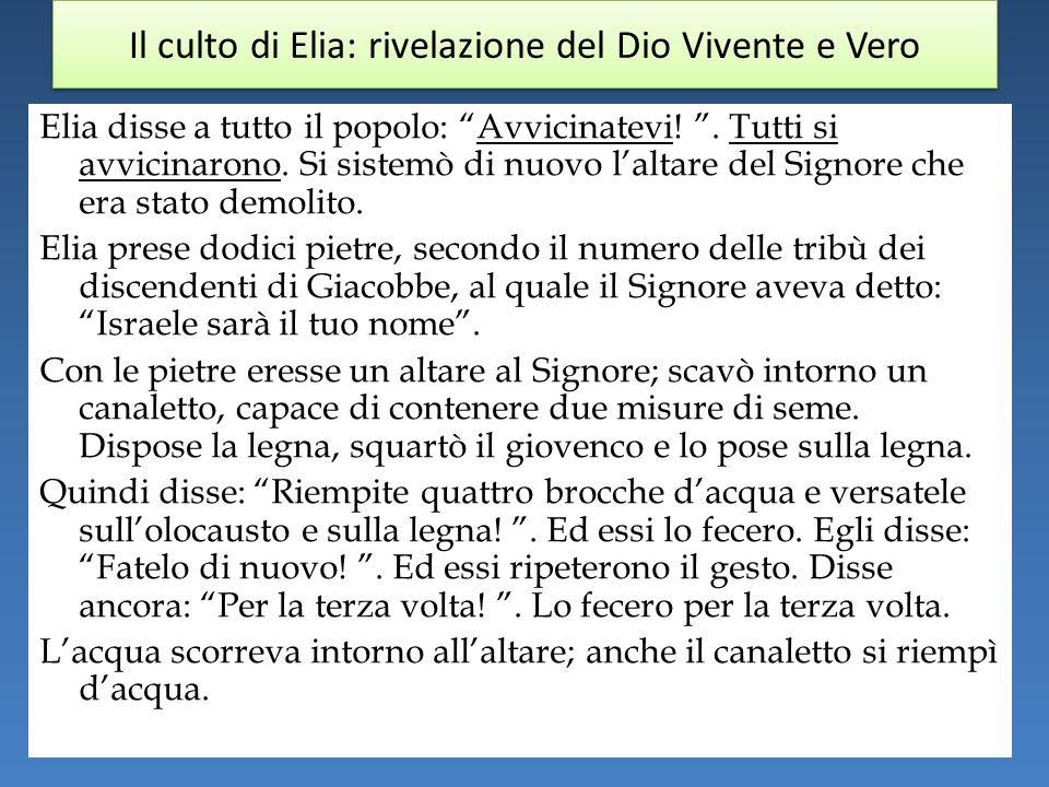 Il culto di Elia: rivelazione del Dio Vivente e Vero Elia disse a tutto il popolo: Avvicinatevi!.