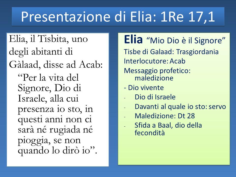 Presentazione di Elia: 1Re 17,1 Elia, il Tisbita, uno degli abitanti di Gàlaad, disse ad Acab: Per la vita del Signore, Dio di Israele, alla cui presenza io sto, in questi anni non ci sarà né rugiada né pioggia, se non quando lo dirò io.