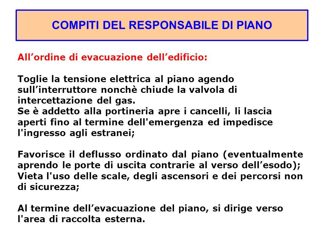 COMPITI DEL RESPONSABILE DI PIANO Allordine di evacuazione delledificio: Toglie la tensione elettrica al piano agendo sullinterruttore nonchè chiude la valvola di intercettazione del gas.