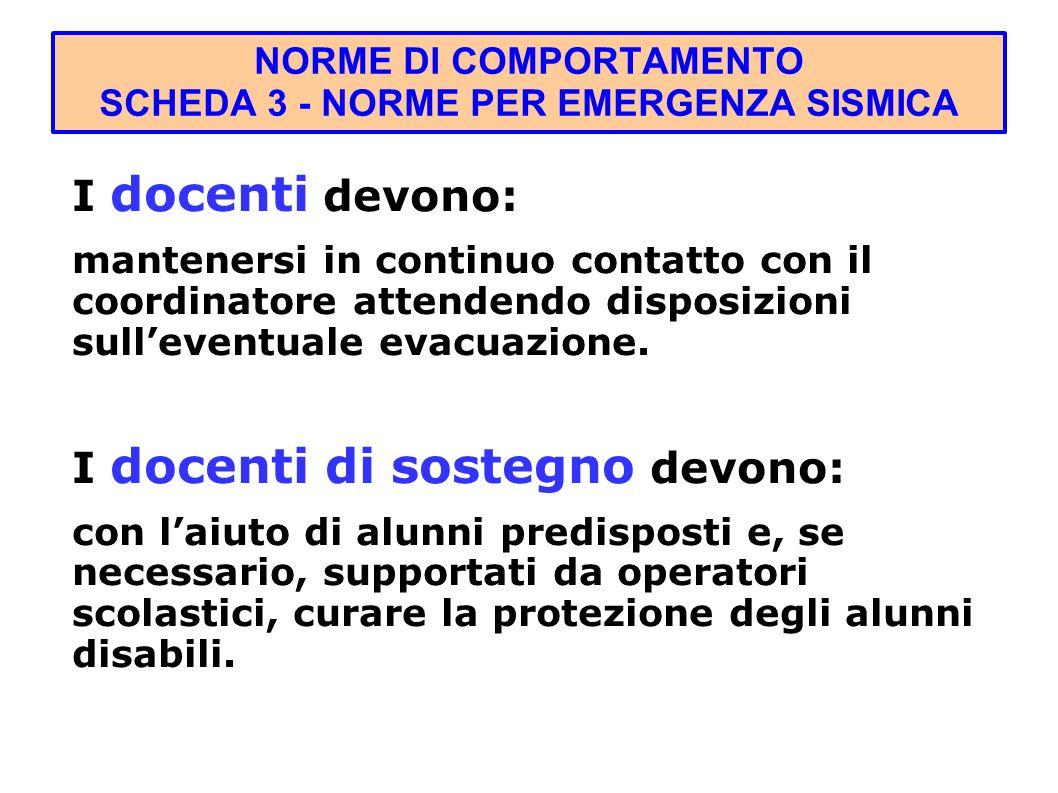 I docenti devono: mantenersi in continuo contatto con il coordinatore attendendo disposizioni sulleventuale evacuazione.