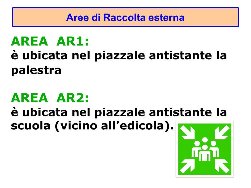 Aree di Raccolta esterna AREA AR1: è ubicata nel piazzale antistante la palestra AREA AR2: è ubicata nel piazzale antistante la scuola (vicino alledicola).