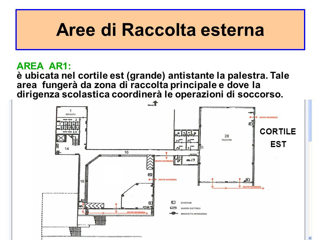 Aree di Raccolta esterna CORTILE EST AREA AR1: è ubicata nel cortile est (grande) antistante la palestra.