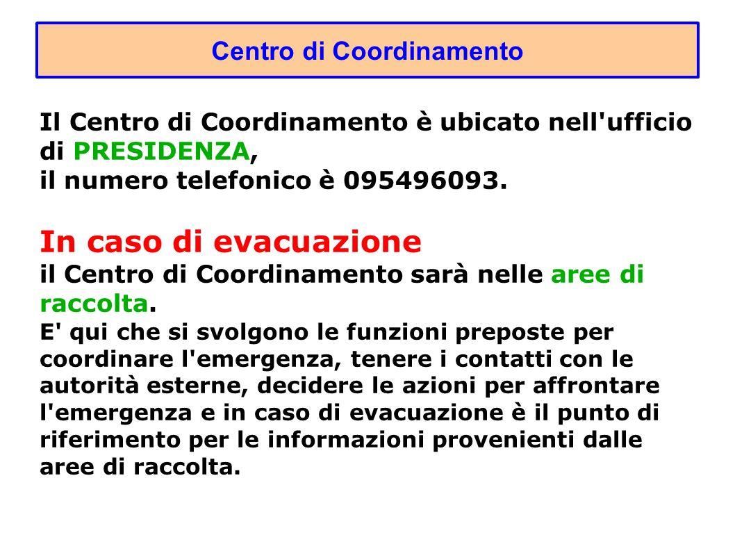 Centro di Coordinamento Il Centro di Coordinamento è ubicato nell ufficio di PRESIDENZA, il numero telefonico è 095496093.