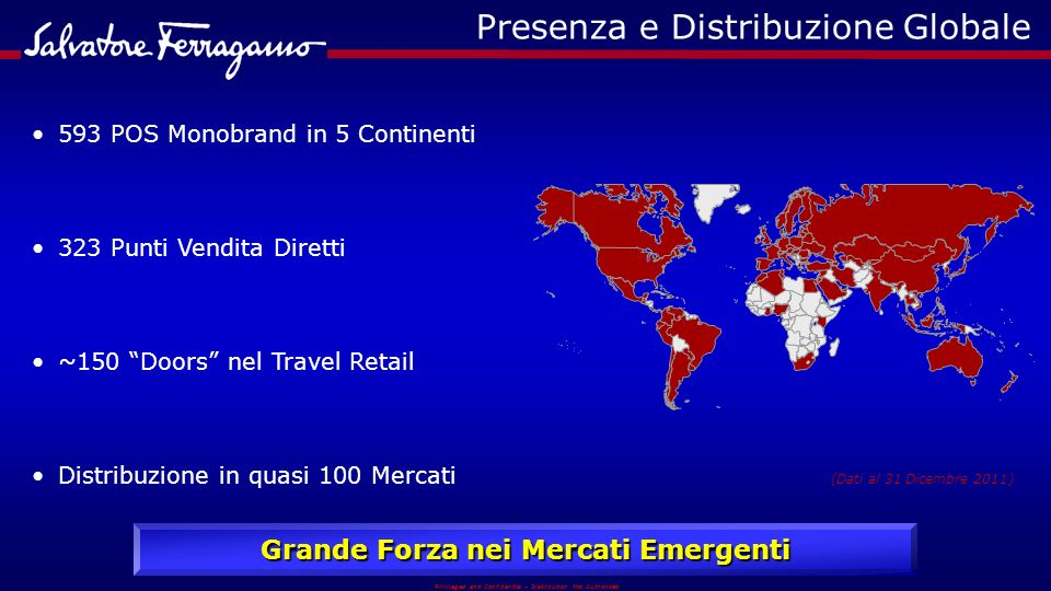 Privileged and Confidential – Distribution Not Authorized Presenza e Distribuzione Globale 593 POS Monobrand in 5 Continenti 323 Punti Vendita Diretti