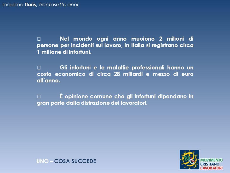 Nel mondo ogni anno muoiono 2 milioni di persone per incidenti sul lavoro, in Italia si registrano circa 1 milione di infortuni.