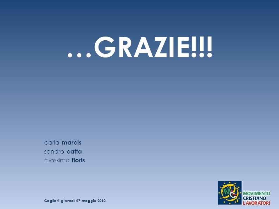 …GRAZIE!!! carla marcis sandro catta massimo floris Cagliari, giovedì 27 maggio 2010