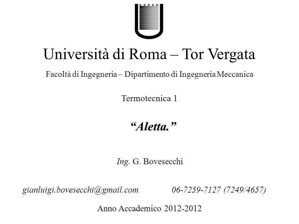 Aletta. Università di Roma – Tor Vergata Facoltà di Ingegneria – Dipartimento di Ingegneria Meccanica Anno Accademico 2012-2012 Ing. G. Bovesecchi Ter