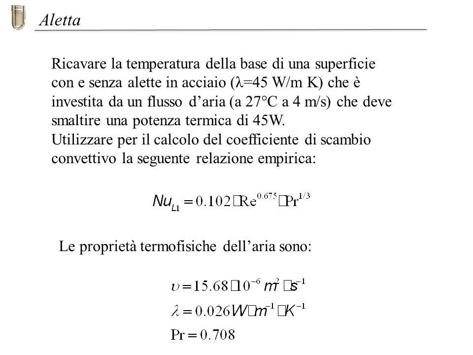 Ricavare la temperatura della base di una superficie con e senza alette in acciaio (λ=45 W/m K) che è investita da un flusso daria (a 27°C a 4 m/s) ch