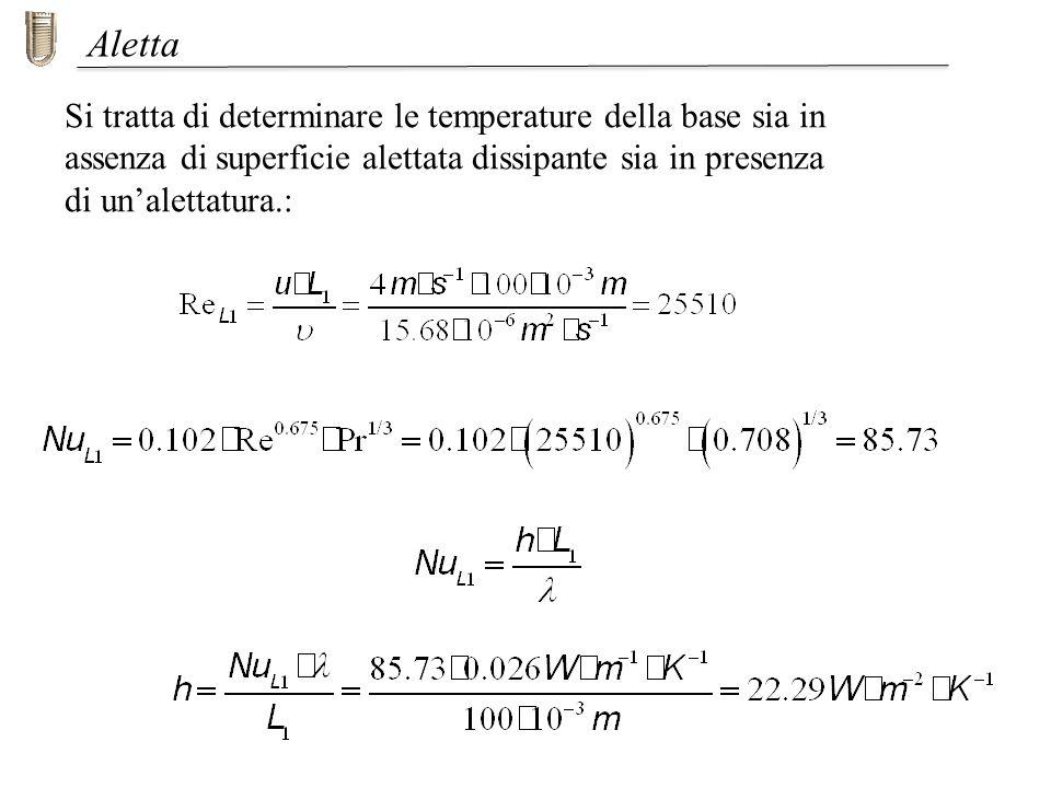 Si tratta di determinare le temperature della base sia in assenza di superficie alettata dissipante sia in presenza di unalettatura.: