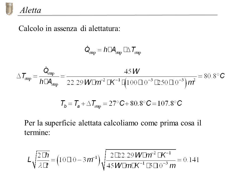 Aletta Calcolo in assenza di alettatura: Per la superficie alettata calcoliamo come prima cosa il termine: