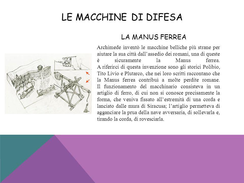 LA MANUS FERREA Archimede inventò le macchine belliche più strane per aiutare la sua città dallassedio dei romani, una di queste è sicuramente la Manu