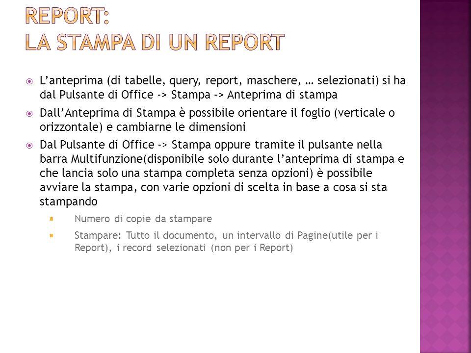 Lanteprima (di tabelle, query, report, maschere, … selezionati) si ha dal Pulsante di Office -> Stampa –> Anteprima di stampa DallAnteprima di Stampa