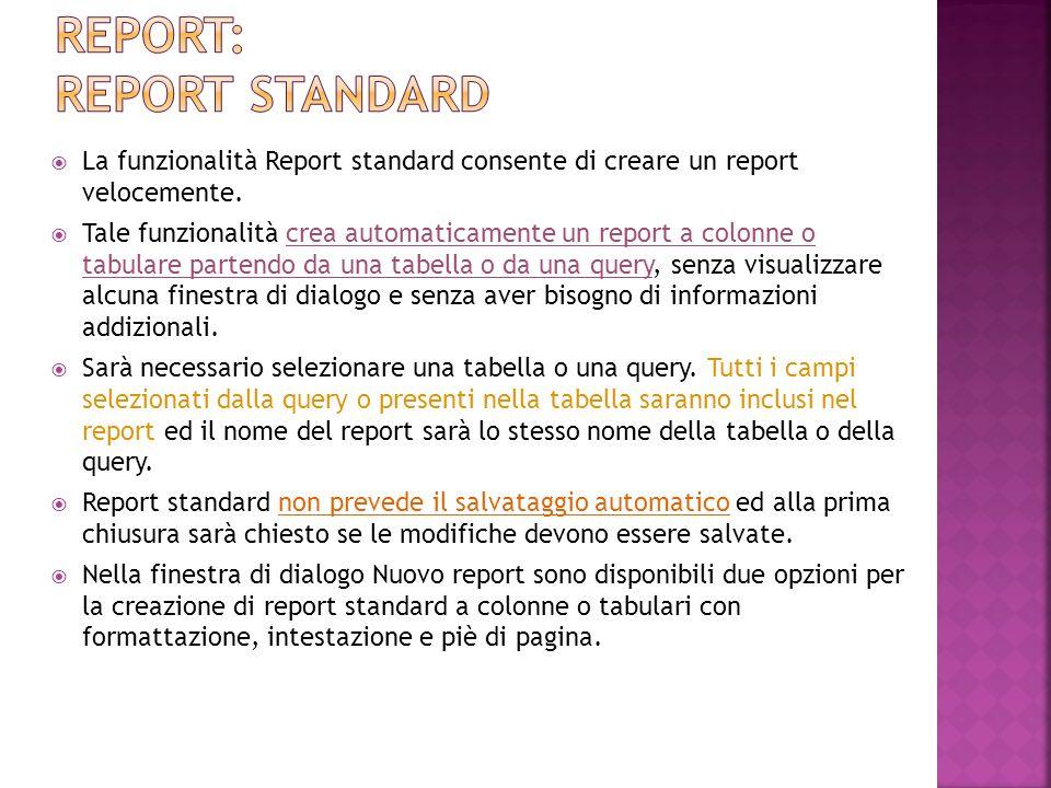 La funzionalità Report standard consente di creare un report velocemente. Tale funzionalità crea automaticamente un report a colonne o tabulare parten