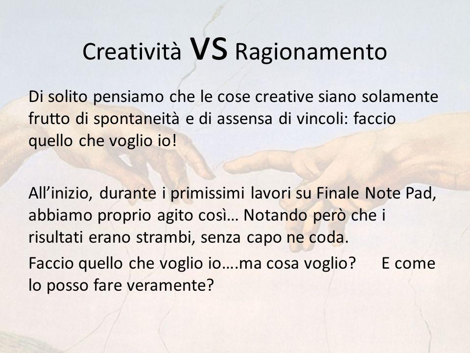 Creatività vs Ragionamento Di solito pensiamo che le cose creative siano solamente frutto di spontaneità e di assensa di vincoli: faccio quello che voglio io.