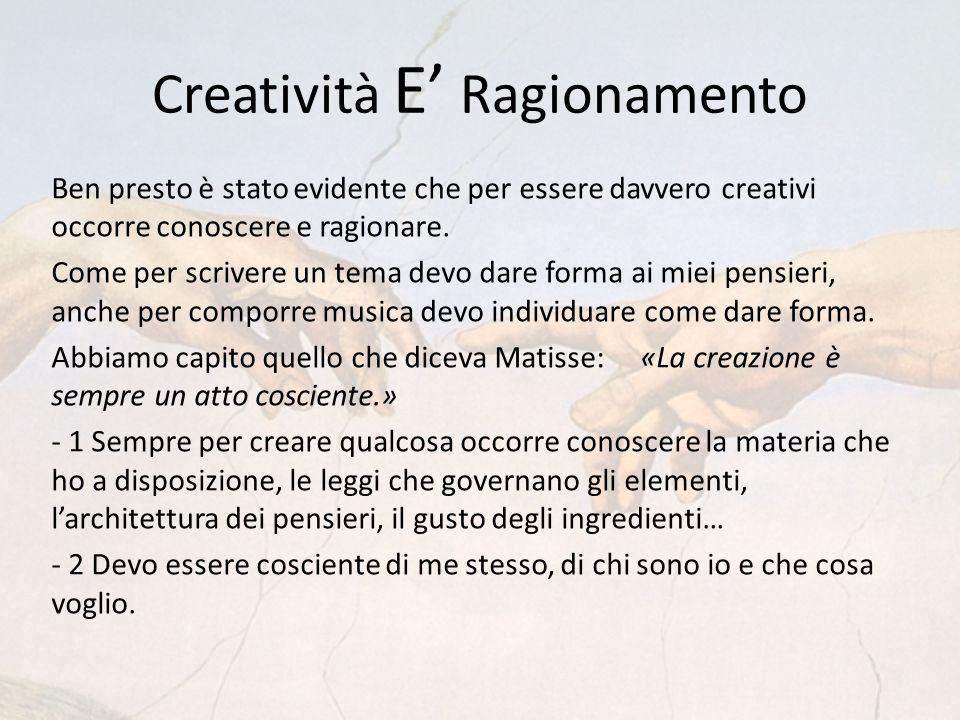 Creatività E Ragionamento Ben presto è stato evidente che per essere davvero creativi occorre conoscere e ragionare.