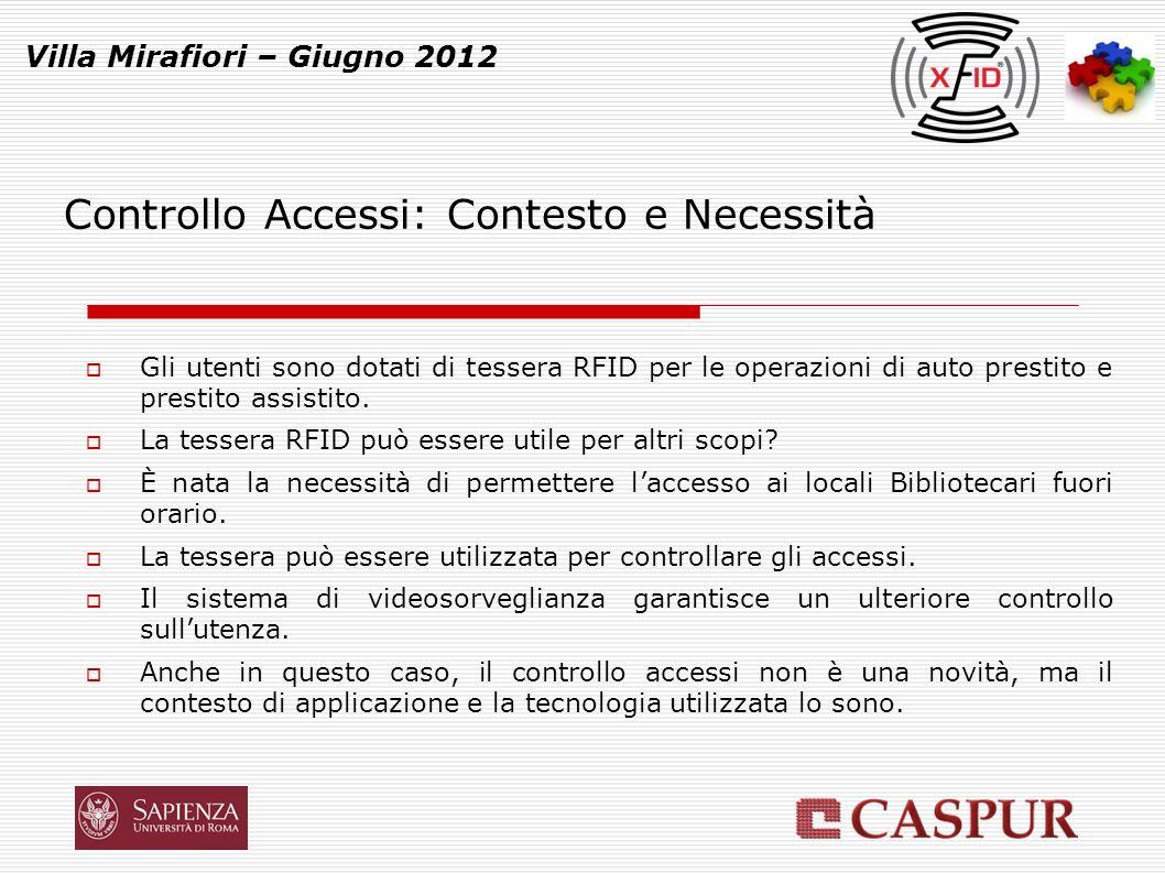 Controllo Accessi: Contesto e Necessità Villa Mirafiori – Giugno 2012 Gli utenti sono dotati di tessera RFID per le operazioni di auto prestito e prestito assistito.