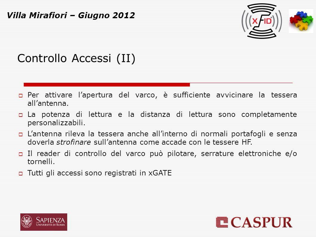 Controllo Accessi (II) Villa Mirafiori – Giugno 2012 Per attivare lapertura del varco, è sufficiente avvicinare la tessera allantenna.