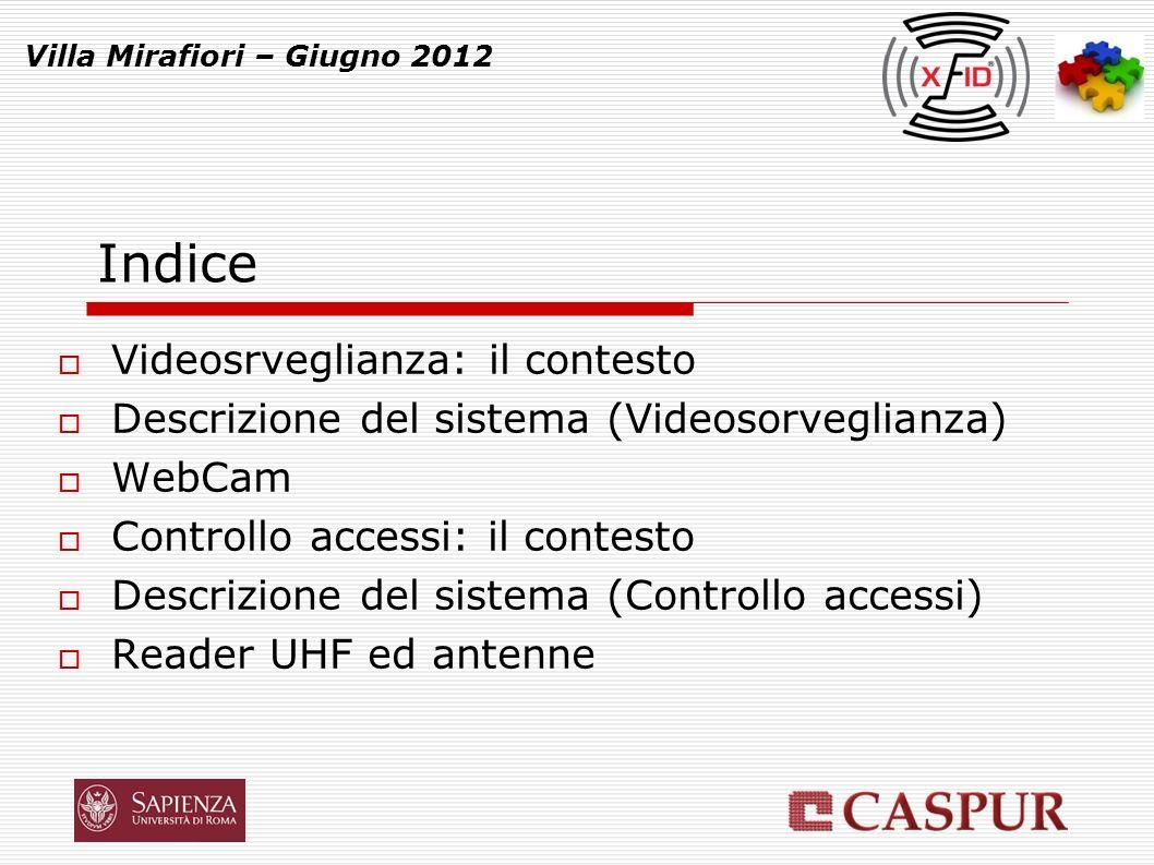 Villa Mirafiori – Giugno 2012 Indice Videosrveglianza: il contesto Descrizione del sistema (Videosorveglianza) WebCam Controllo accessi: il contesto Descrizione del sistema (Controllo accessi) Reader UHF ed antenne