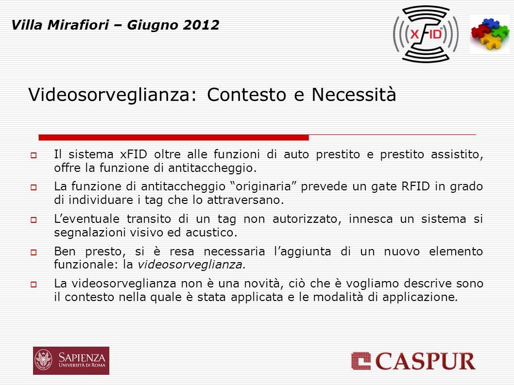 Videosorveglianza (I) Villa Mirafiori – Giugno 2012 La funzione di antitaccheggio originaria prevede un gate RFID in grado di individuare i tag che lo attraversano.