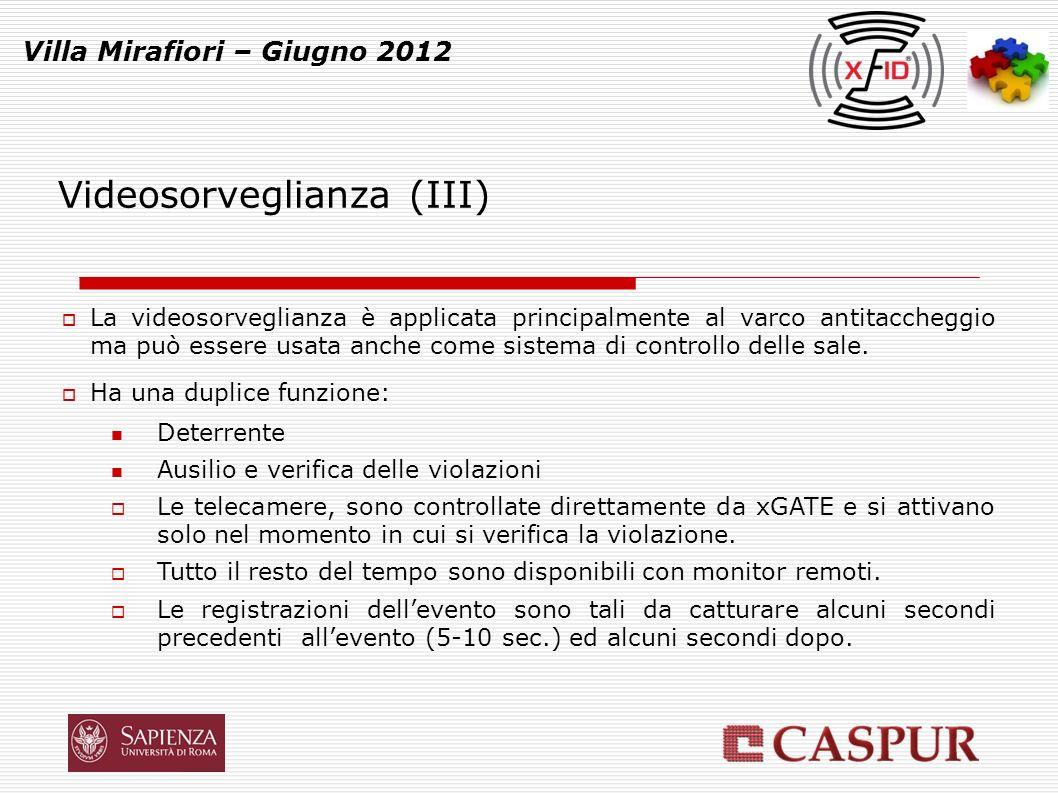 Videosorveglianza (IV) Villa Mirafiori – Giugno 2012 Tutti gli eventi sono codificati ed archiviati.