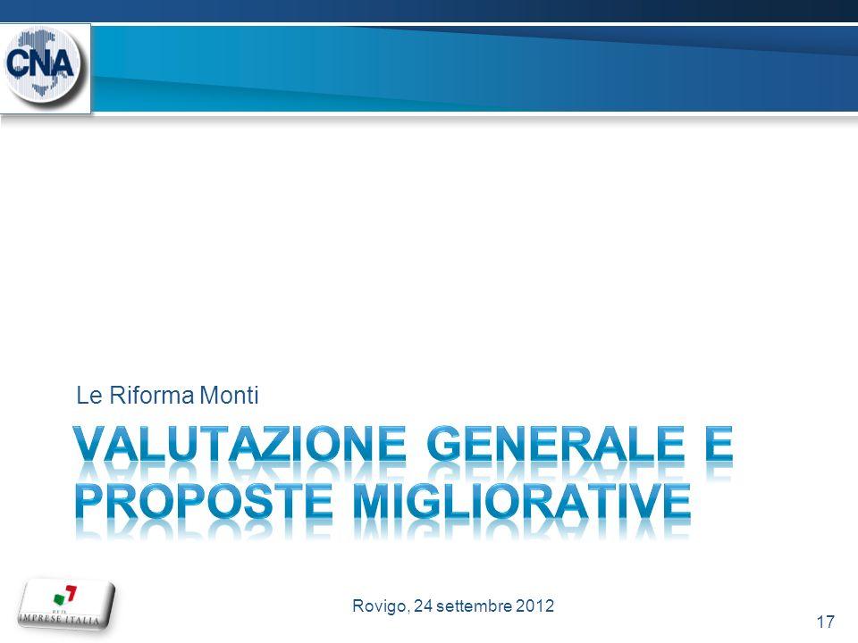 Le Riforma Monti 17 Rovigo, 24 settembre 2012