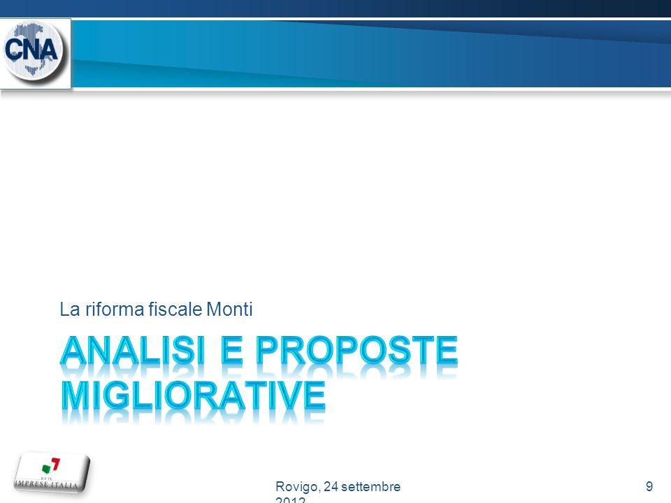 La riforma fiscale Monti 9Rovigo, 24 settembre 2012