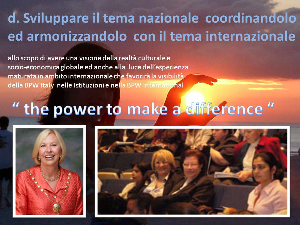 d. Sviluppare il tema nazionale coordinandolo ed armonizzandolo con il tema internazionale allo scopo di avere una visione della realtà culturale e so