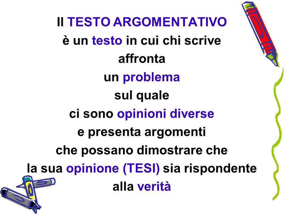 Il TESTO ARGOMENTATIVO è un testo in cui chi scrive affronta un problema sul quale ci sono opinioni diverse e presenta argomenti che possano dimostrar