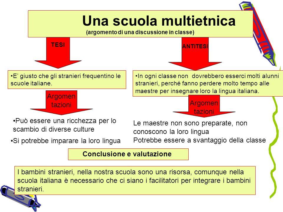 Una scuola multietnica (argomento di una discussione in classe) E giusto che gli stranieri frequentino le scuole italiane. In ogni classe non dovrebbe